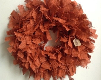 Fall Burlap Wreath, Orange wreath, Fall Wreath, Orange Burlap Wreath, Halloween Wreath, Autumn Wreath
