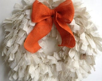 "Burlap Fall Wreath, 26"" Pumpkin Wreath, Fall Wreath, Autumn Wreath, Halloween Wreath, Thanksgiving Wreath, White Wreath, Autumn Wreath"