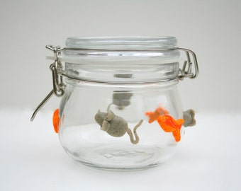 Cat Treat Glass Locking Top Jar in Custom colors
