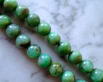 Chrysoprase - Smooth Round 9mm - 10mm Beads - 1 strand of 41 beads
