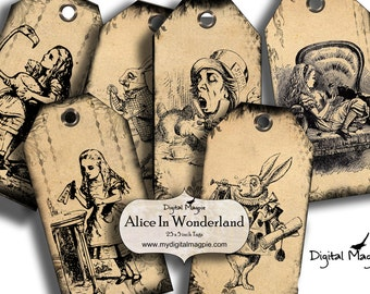 Alice in Wonderland printable tags digital download  Mad Hatter white Rabbit gift tags Alice party instant download