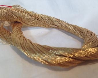 Vintage 24K Gold Metallic Wrapped Around Silk Thread