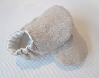 Natural Linen/Organic Cotton French Terry Lined - Baby Booties - Unisex - Eco Friendly - 0-3 Months, 6-12 Months, Spring, Summer - Tan/White