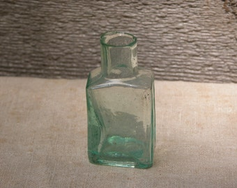 Vintage Green Ink Bottle With Sheared Neck