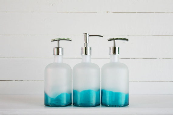 Recycled Glass Soap Dispenser Dipped Sapphire Aqua Frost