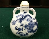 Beautiful Vintage Chinese Blue & White Dragon Snuff Bottle 2 3/4""