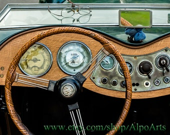 Antique car photo, dashboard photo from MG convertible, 8x10 or 12x18 photograph, vintage automobile, old car picture, man cave decoration