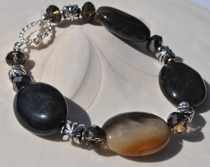 Petrified Wood Chocolate Brown Bracelet with mocha crystals, Bali sterling silver beads and toggle clasp.