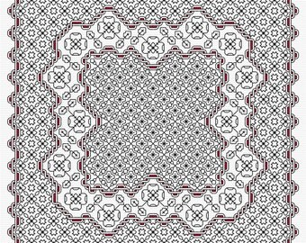 Stunning Ribbon Blackwork PDF chart, pattern