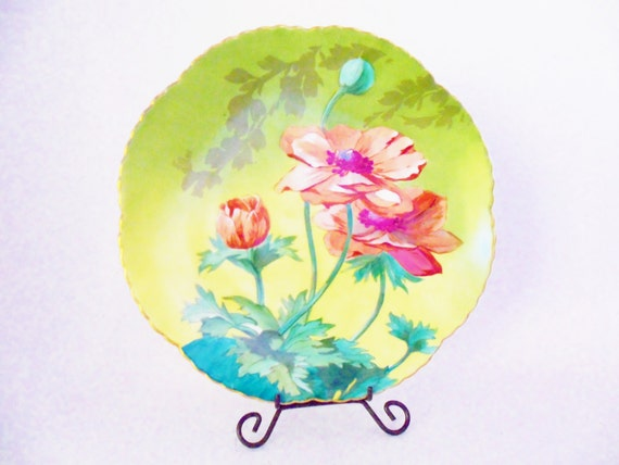 Decorative Plate Floral Handpainted Teal Pink Green Coral Gold Trim Art Deco Shabby and Chic