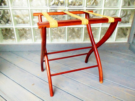 Folding Luggage Suitcase Rack Stand Holder Wooden Brocade