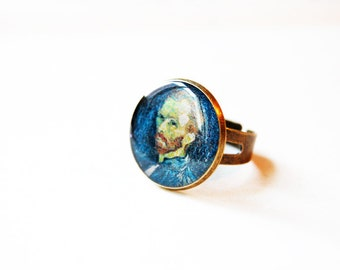 Vincent van Gogh (Self-portrait) - Handmade Vintage Cameo Ring
