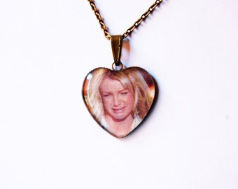 Crying Britney Spears Heart Cameo - Crying Britney Pendant - Crying Britney Necklace - Meme Pendant - Meme Necklace - Meme Jewelry - LOL