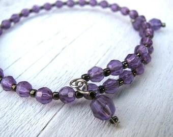 Purple Beaded Bangle, Memory Wire Bracelet, Hematite Beads, Upcycled, Eco-Friendly, Layering Bracelet, Vintage Faceted Beads, Mauve, Lilac