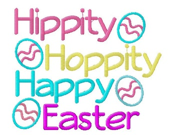 HIppity Hoppity Happy Easter Embroidery Design