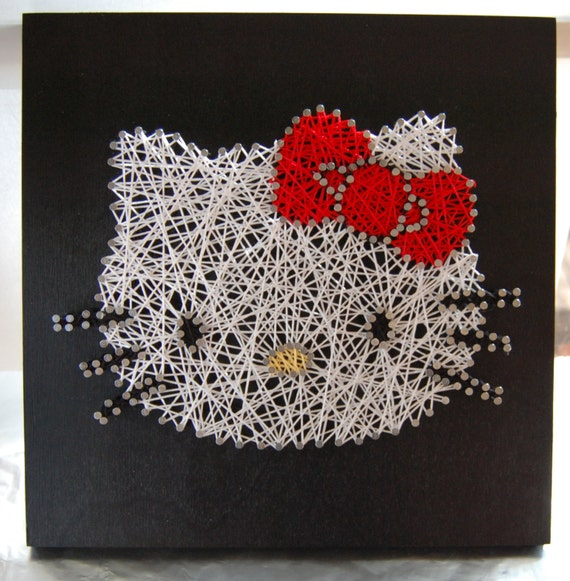 Etsy Personalized Wall Decor : Items similar to hello kitty string art custom wall