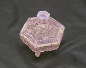 Pink Opalescent Glass Trinket Box Ring Box