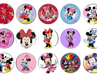 Minnie Mouse. 1 in. circle images. Perfect for bottle caps
