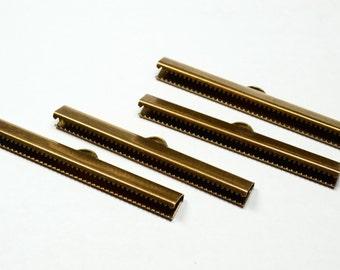 20 Pcs Antique Brass   6 x50 mm  Ribbon Crimp End , Connectors