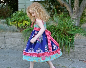 "SALE..Buy 2 get 1 free..Easy Girl's ""No Buttonhole"" Knot Dress or Top Instant Download PDF Sewing Pattern and Tutorial, 6-12 M to 8"