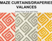 MODERN GRAPHIC CURTAINS, Select Your Length & Color, Two Drapery Panels or One Single Valance, Premier Maze Print