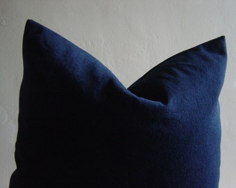 "16"" by 16"" Dark Blue Denim Pillow Cover"