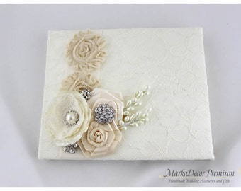 Wedding Lace Guest Book Custom Bridal Flower Brooch Guest Books in Ivory and Champagne