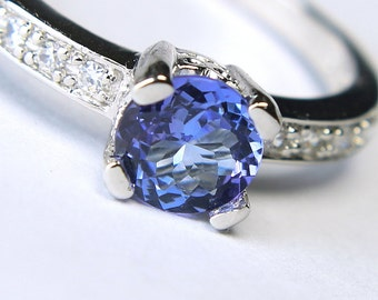 Genuine Tanzanite in an Accented Sterling Silver Ring