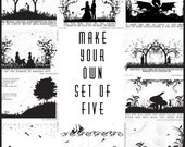Make Your Own Set of 5 A6 Postcards - Choose Any 5 Illustrated Postcards