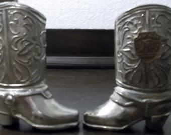 Vintage Souvenir Cowboy Boots Salt and Pepper Shakers Great Falls Montana