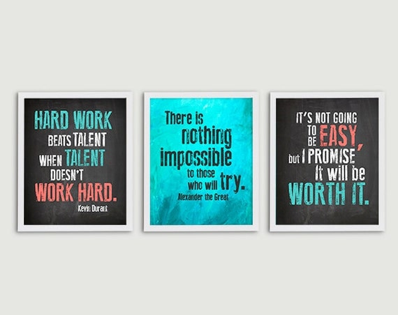 inspirational quote classroom decor teacher gift set of 3