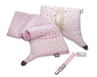 Organic cotton baby girl warm recieving blanket, pillow and pacifier clip set