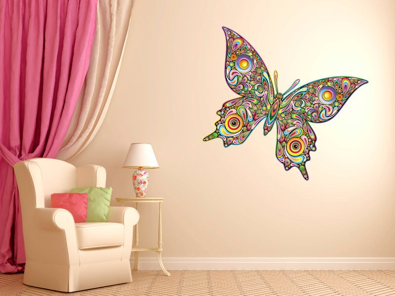 Butterfly wall decals etsy color the walls of your house - Psychedelic Butterfly Vinyl Wall Decal Graphics By Stickerhog