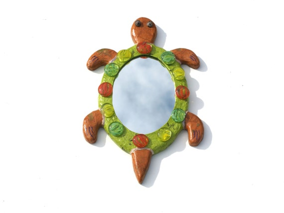 Decorative Wall Mirror,oval mirror,animal mirror,turtle mirror,wall hanging turtle,green mirror with glass beads