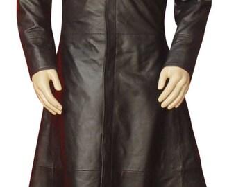 Long leather coat   Etsy