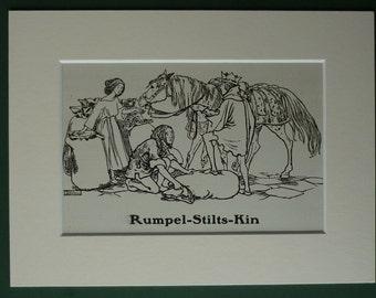 1929 Vintage Print of Rumpelstiltskin By Helen Stratton - Children's Illustration - Brothers' Grimm Fairytale - Antique Print - Folk Tale