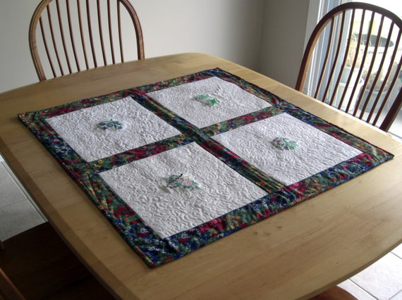 QuiltedFlower Wall Hanging, Table Centerpiece or Throw