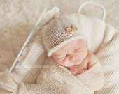 Off-White Newborn Photo Prop, Baby Fall Hat  Unisex,Newborn hat