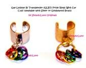 Gay-Lesbian-Bi-Transgender Pride Ear Cuff With Rainbow Rings - Single Item