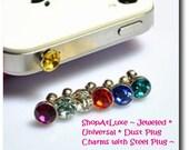 Jeweled Anti Dust Plug - Universal Size 3.5mm - Headphone Jack Opening OD