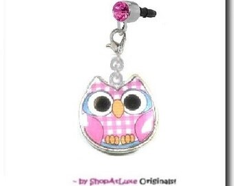 Hot Pink Owl Enamel - With Choice Of Universal 3.5mm Dust Plug Or Clilp-On Strap