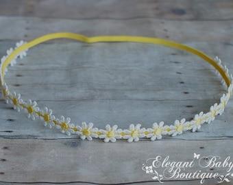 White and Yellow Petite Daisy Chain Headband, Photo Prop, Babies, Girls, Teens, Adults