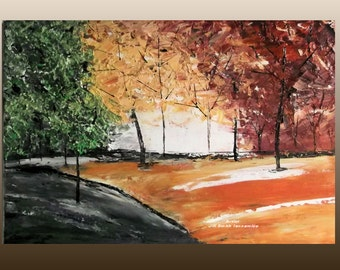 Colorful Tree Painting Modern Abstract Acrylic Tree Painting 16x20 Landscape Palette Knife Original Art for sale Art by jillsfineart
