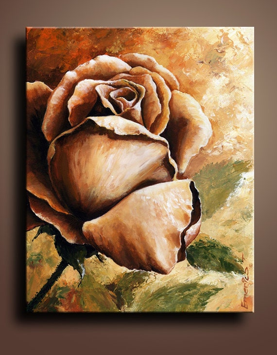 Items similar to Floral Canvas Print of Rose Acrylic Painting Wall Decor Wall Hanging on Etsy