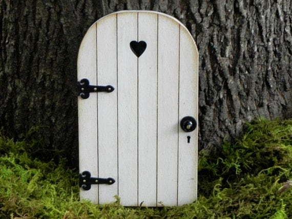 Fairy door fairy garden miniature wood white with black for Wooden fairy doors