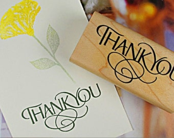 THANK YOU Wooden Rubber Stamp 6cm x 3cm in Stylish Upper Caps - Merci. Scrapbooking. Cardmaking. Tag Making. Stamping
