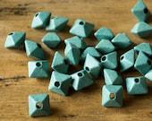 Seafoam Green Greek Ceramic Bead Oxyhedron Geometric 12 mm