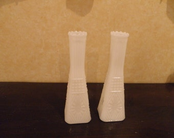 Milk Glass Bud Vases  B