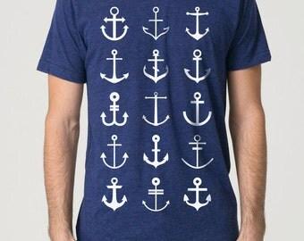 "Anchor T-Shirt ""Anchors Aweigh!"" - printing / American Apparel Tri-Indigo"