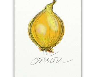 ART PRINT SKETCH of Yellow Onion on White Background